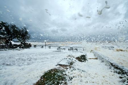 tempest: Annual spring storm and hurricane in Uruguay. Province of Maldonado, Piriapolis coastline Stock Photo