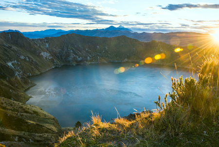 volcanos: Ilinizas Volcanos under the Quilotoa lagoon at the sunrise, Andes. Ecuador Stock Photo