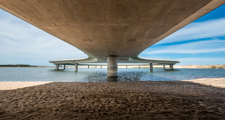 ignacio: Jose Ignacio, Uruguay, March 08, 2016 - A new bridge on a Uruguayan lagoon Garzon affording 360-degree views, replaces a system of slow rafts, which allowed only two cars to pass at time Editorial