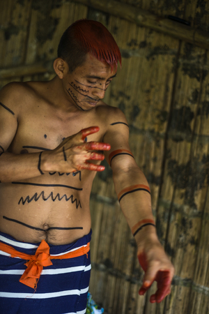 grease paint: SANTO DOMINGO, ECUADOR - JANUARY 26, 2015: Indian man Colorados (Los Tsáchila) tribe in national clothes paints hair and body with juice of plants achiote for ritual purposes, on January 26, 2015 in Santo Domingo, Los Rios, Ecuador