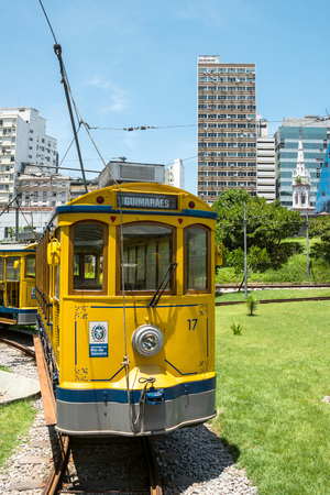 19 years: RIO DE JANEIRO, FEBRUARY, 19, 2016 - After many years in Rio de Janeiro again have launched a famous tram from Lapa to Santa Teresa district, Rio de Janeiro, Brazil Editorial
