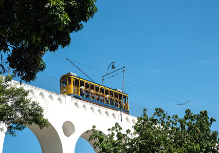 RIO DE JANEIRO, FEBRUARY, 19, 2016 - After many years in Rio de Janeiro again have launched a famous tram from Lapa to Santa Teresa district, Rio de Janeiro, Brazil Editorial