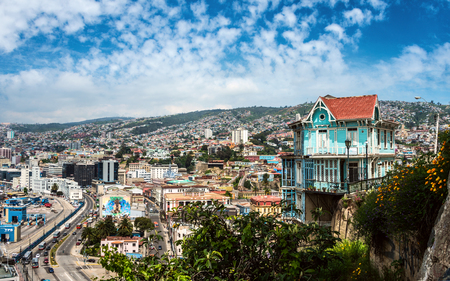 Valparaiso, Chile - October 20, 2015: Houses of historical shell declared World Heritage by UNESCO - on October 20 2015 in Valparaiso, Chile