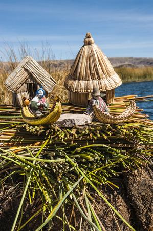 landscape mode: Uros - Floating Islands, Titicaca, Peru Stock Photo