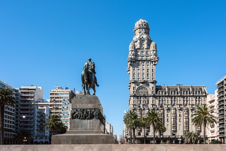 artigas: Montevideo, Uruguay - August 22, 2016: Salvo Palace on the Independence Square, a national icon, renovated for the season