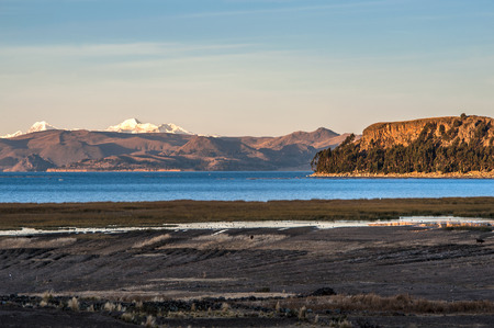 bolivian: Lake Titicaca from the bolivian side Stock Photo