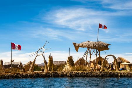 Uros の浮島、チチカカ、ペルー 写真素材