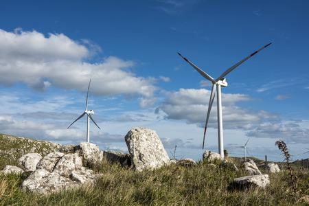 northwest: Windmills on the Sierra Carape in the Maldonado Department, Uruguay