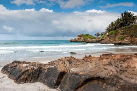 Small charming fishing village of Mompiche, Ecuadorian Pacific coastline Standard-Bild