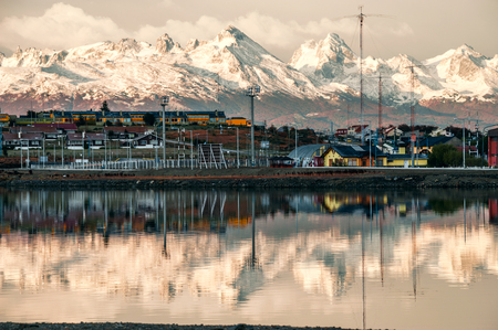 Ushuaia, Argentina - April 15, 2011: Ushuaia is the southernmost city in the world - port of Ushuaia, Tierra del Fuego, Patagonia, Argentina