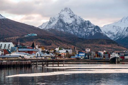 Ushuaia, Argentina - April 17, 2011: Ushuaia is the southernmost city in the world - port of Ushuaia, Tierra del Fuego, Patagonia, Argentina Editorial