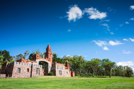 Las Flores, route 71, Uruguay - February 2, 2013: Maldonado province local government started restoration of Pittamiglio Hall, the Art Deco version of a Middle Ages castle