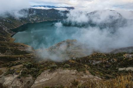 Quilotoa caldera and lake (lagoon), Andes. Ilinizas Nature Reserve, Ecuador Standard-Bild
