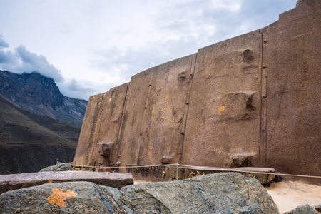 Famous Sun Temple pre-Columbian Inca site in Ollantaytambo, Cusco region, Peru