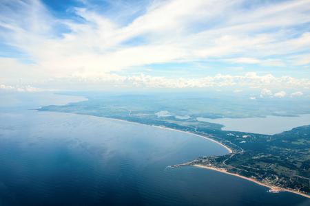 Panoramic view of endless beaches and Punta Ballena horn near city Punta del Este, Uruguay Atlantic coast Standard-Bild