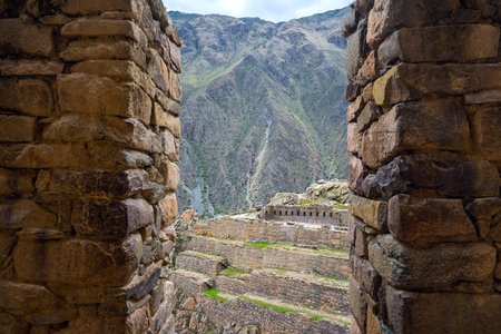 Ollantaytambo Fortress ruins and town are an important and popular tourist attraction in the Sacred Valley on the Inca trail, pre-Columbian Inca site in Cusco region, Peru