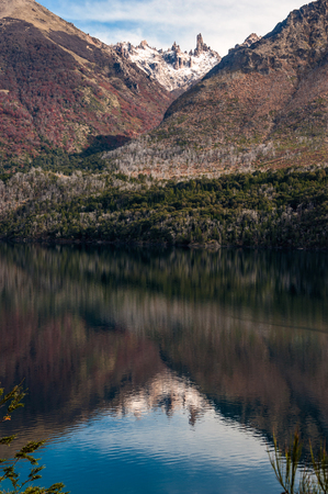 Autumn Colors in Lake Gutierrez, near Bariloche, Patagonia, Argentina Stock Photo