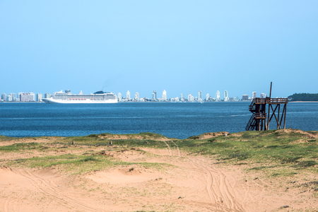 Panoramic view of the city Punta del Este from Punta Ballena, Uruguay atlantic coast