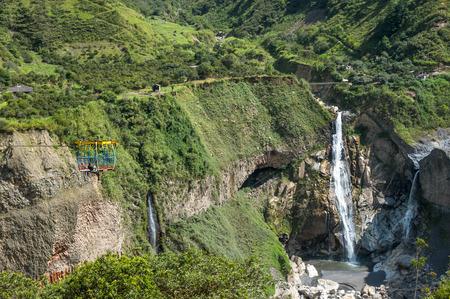 Waterfall in Cascades route, Banos, Ecuador Standard-Bild