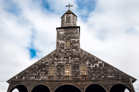 Famous timber church on Chiloe island is a distinctive examples of Chilote architecture
