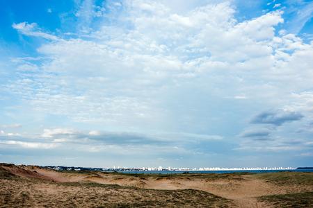 Panoramic view of endless beaches and Punta del Este, Uruguay atlantic coast
