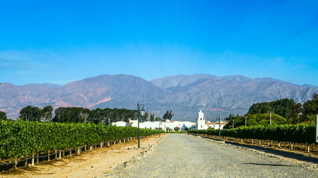 Road to the old colonial wine maker in Cafayate with the mountains and clear blue sky in the background