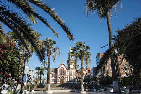 Arica, northern Chile - March 31, 2015: The Gothic-style Saint Marks Cathedral (Iglesia San Marcos) by Gustave Eiffel, which was an all-metal prefabricated building, manufactured in France and shipped to South America in pieces to be assembled on site in