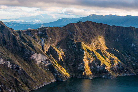 Early morning on the Quilotoa volcano caldera and lake, Andes. Ilinizas Nature Reserve, Ecuador