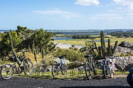Punta del Este, Uruguay - April 1, 2017:  Panoramic view of Punta del Este resort town from El Fasano, Las Piedras, Uruguay atlantic coast, Maldonado province Editorial