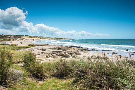 Punta del Diablo Beach, province Rocha – December 22, 2012: Popular tourist site and Fisherman's place in the Uruguay Coast