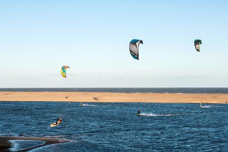 ignacio: Jose Ignacio, Uruguay, April 1, 2017 -  Kiters on the Garzon Bay are using last summer days