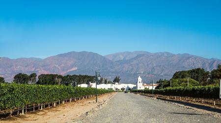 Cafayate, Argentina - December 4, 2014: Road to the old colonial wine maker 'Bodega El Esteco