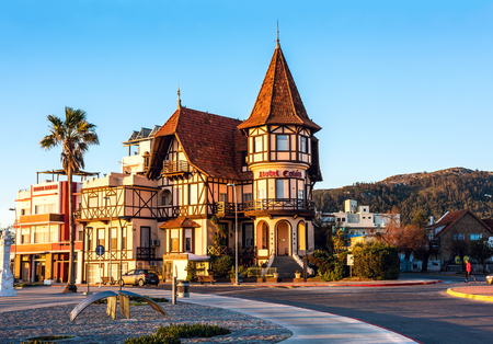 Piriapolis, Uruguay - June 28, 2017: The historic hotel Colon, symbol of the resort town Piriapolis - renovated and opened for turists