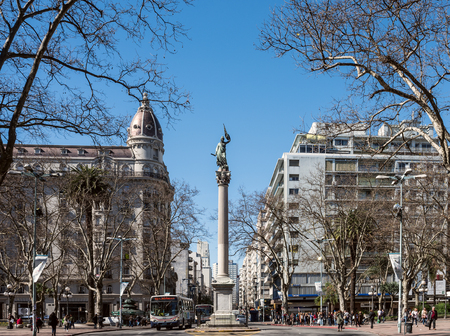 Montevideo, Uruguay - August 18, 2017: Cagancha square with the column Pillar of the World is extremely popular with tourists, was built in 1836, is located in the historic district Standard-Bild