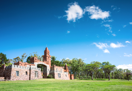 Las Flores, Uruguay - February 2, 2013: Maldonado province local government started restoration of Pittamiglio Hall, the Art Deco version of a Middle Ages castle