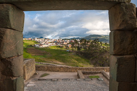 Ingapirca Inca wall, largest known Inca ruins in Ecuador, and new town