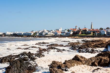 Old peninsula area with Lighthouse and Blue historic church in Punta del Este, Maldonado, Uruguay Standard-Bild