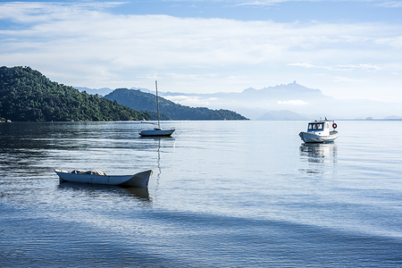 Early morning in the bay of portuguese colonial town of Paraty in Rio de Janeiro state, Brazil Standard-Bild