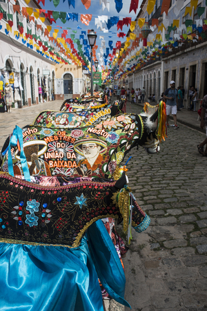 Sao Luis, Maranhao State, Brazil - July 7, 2016: Historic town is preparing for the traditional holiday of bulls