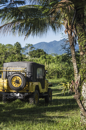 Paraty, state Rio de Janeiro, Brazil - February 24, 2017: 4x4 offroader travels deep into the rain forest in Paraty National Park Editorial