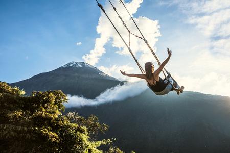Banos, Ecuador - November 22, 2017: The Swing At The End Of The World Located At Casa Del Arbol, The Tree House In Banos De Aqua Santa, Ecuador, South America Éditoriale