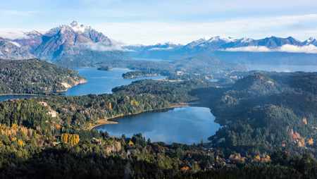 Gorgeous view from the top of Cerro Companario in Nahuel Huapi National Park, San Carlos de Bariloche (or simply, Bariloche), Rio Negro, located on the northern edge of Argentinas Patagonia region
