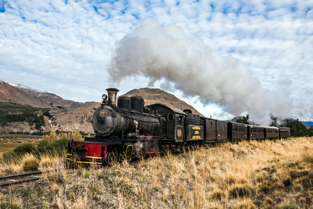 Esquel, Argentina - April 28, 2018: La Trochita (official name: Viejo Expreso Patagonico), in English known as the Old Patagonian Express, is a 750 mm (2 ft 5 1?2 in) narrow gauge railway in Patagonia, Argentina using steam locomotives Standard-Bild - 102920356