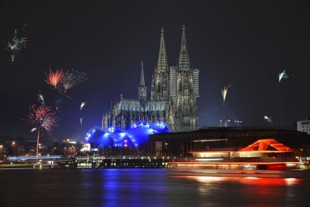 Dom van Keulen aan het begin van het jaar Stockfoto