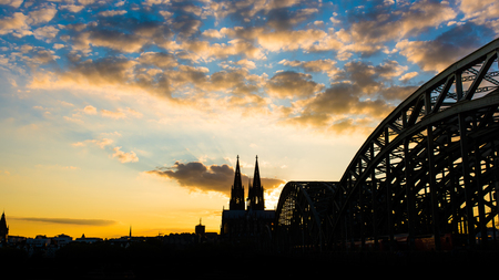 cologne: Cologne Cathedral at sunset Stock Photo