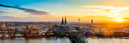 Cologne panorama at sunset