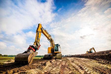 Big excavator in construction site Stock Photo