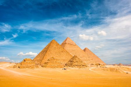 De grote piramides van Gizeh, Egypte Stockfoto