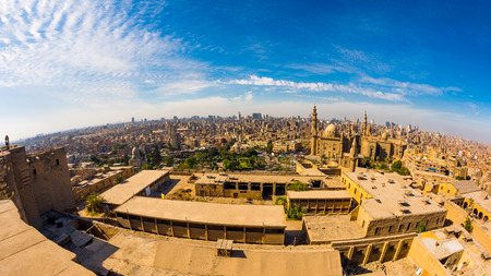 Panoramic view from the citadel of Cairo, Egypt Stock Photo