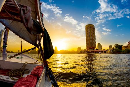 Felucca ride on the Nile, Cairo, Egypt Stock Photo